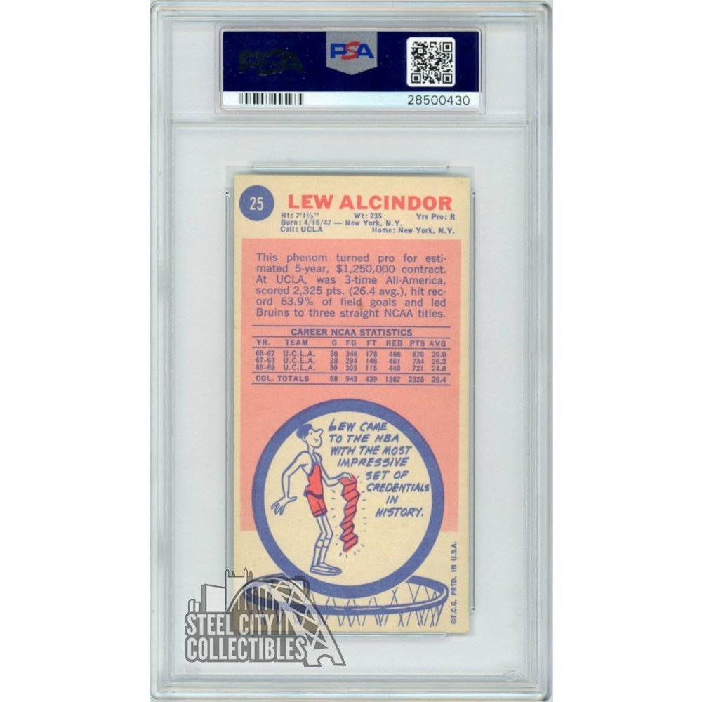 Lew Alcindor 1969 70 Topps Basketball Rookie Card Rc 25 Psa 7 Near Mint