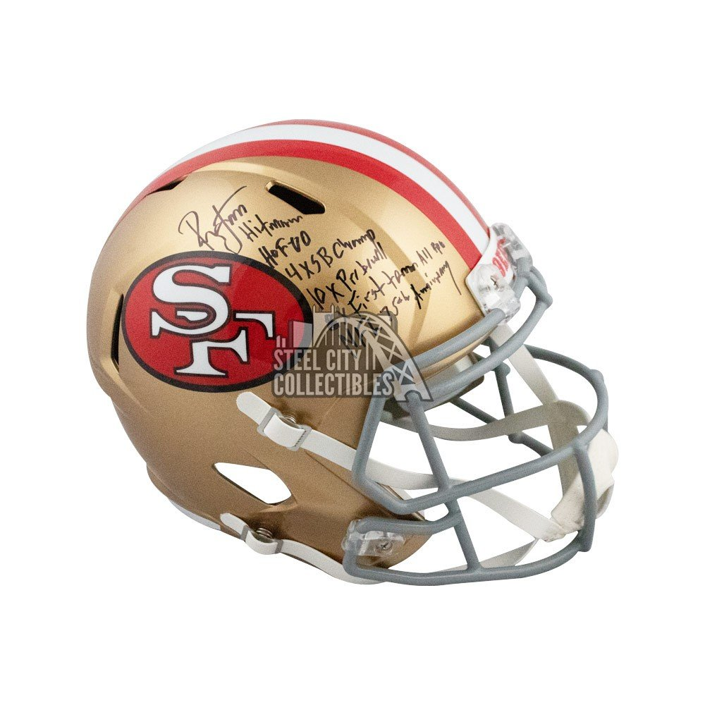 fcbe4af0 Ronnie Lott Autographed 49ers Tribute Full-Size Football Helmet BAS 6  Inscrip