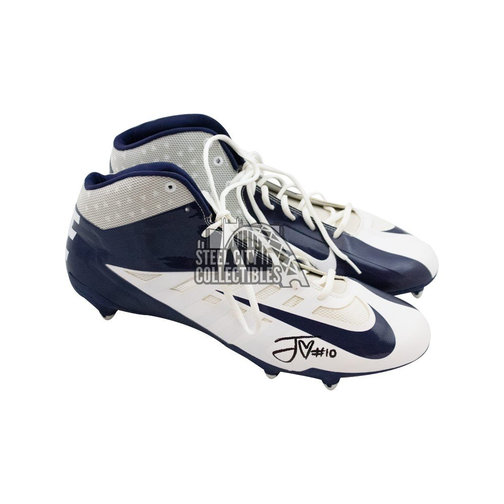 Jordan Love Autographed Blue And White Nike Football Cleats Bas Coa Steel City Collectibles