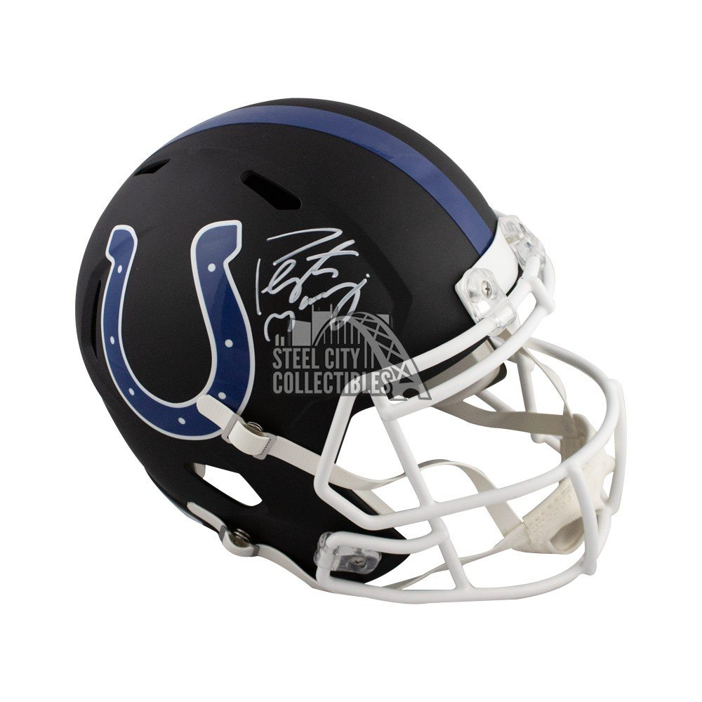 Peyton Manning Autographed Indianapolis Colts Flat Black Full Size Helmet Fanatics Steel City Collectibles
