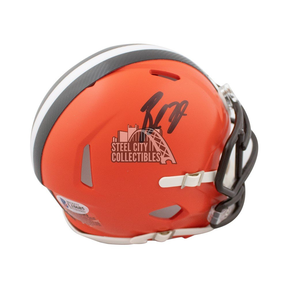 9fa384396 Baker Mayfield Autographed Cleveland Browns Speed Mini Football Helmet - BAS  COA