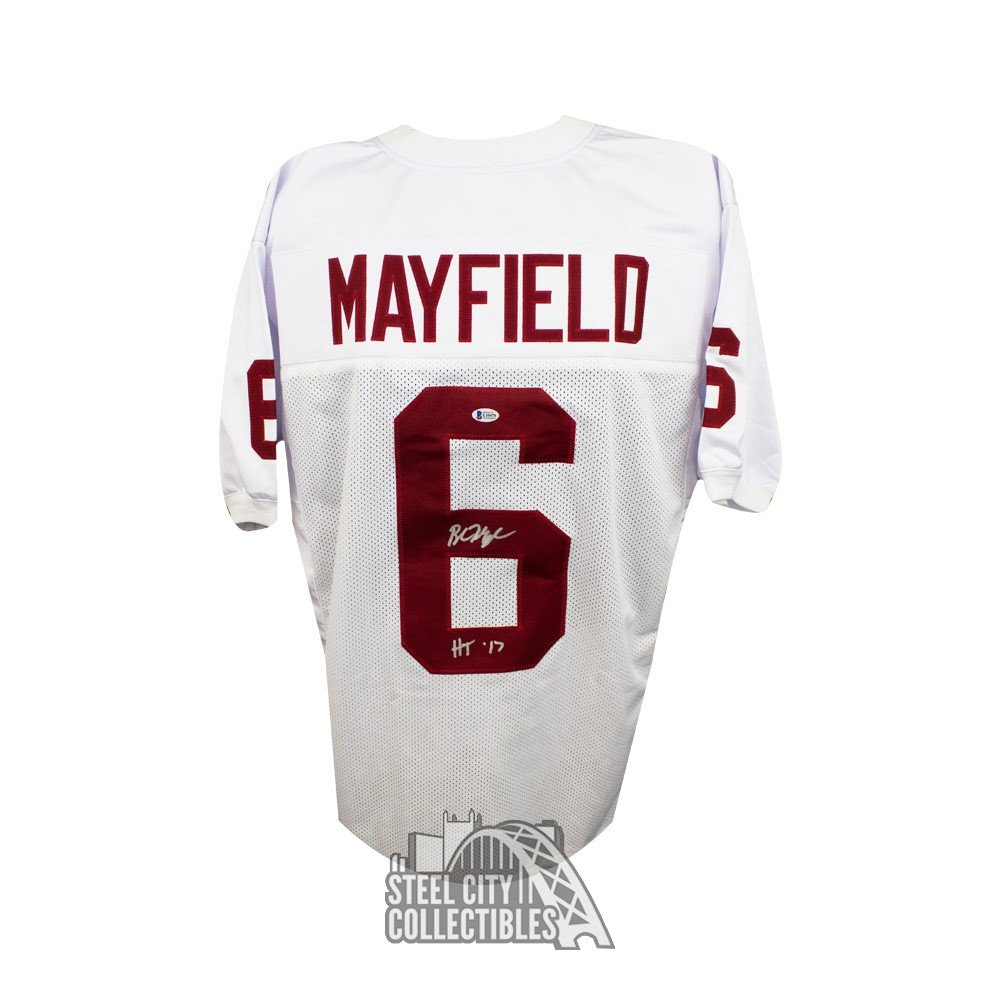 the best attitude c9f9a ff1fe Baker Mayfield 17 HT Insc Autographed Oklahoma Sooners White Football  Jersey BAS