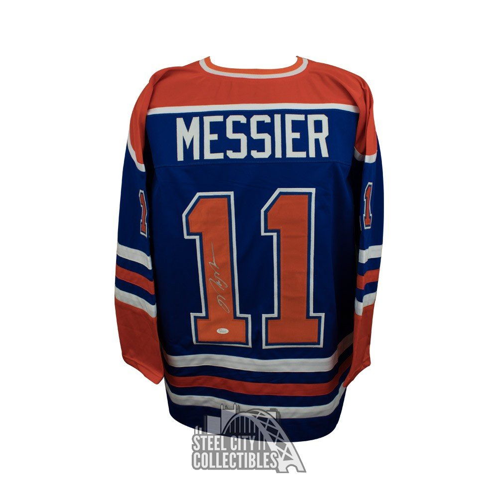 more photos ecc35 f60c3 Mark Messier Autographed Edmonton Oilers Custom Blue Hockey ...