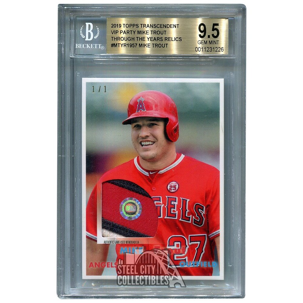huge discount 49d05 ef284 Mike Trout 2019 Topps Transcendent VIP Party Game-Used Patch 1/1 MTYR-1957  - BGS 9.5