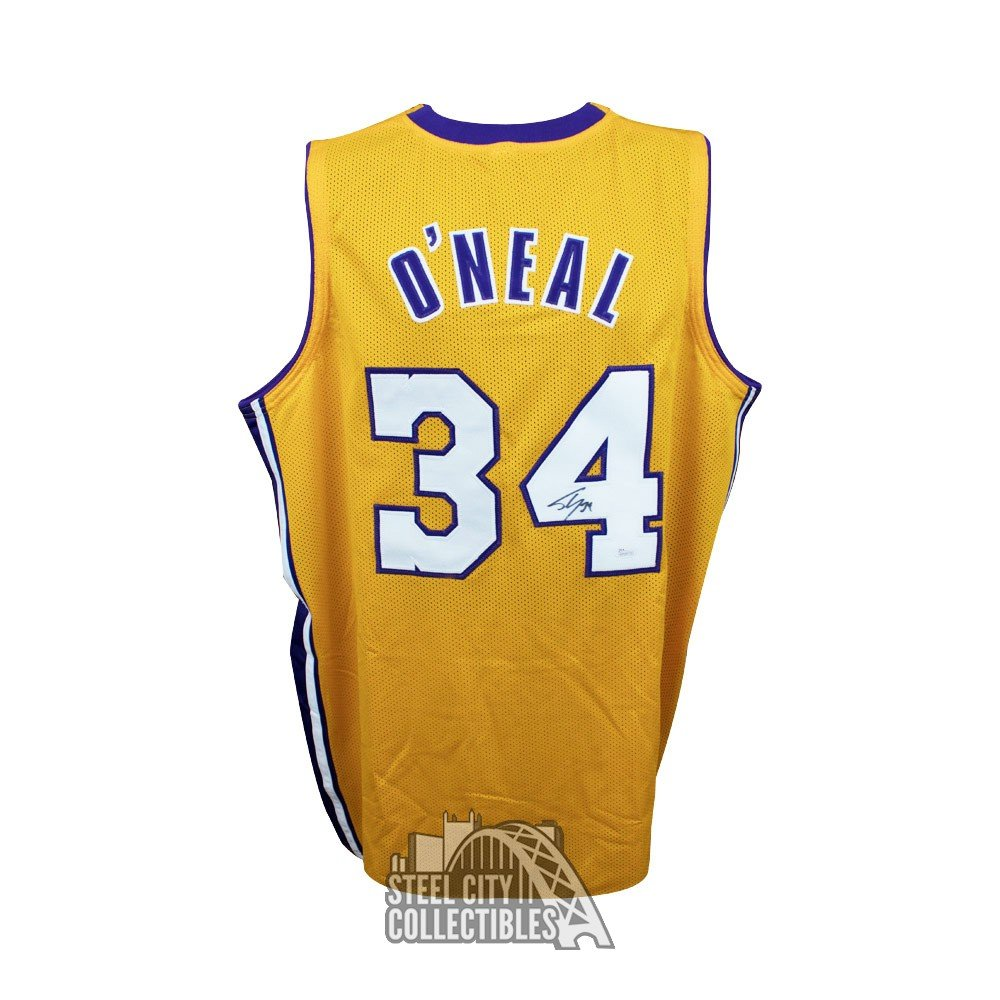 best cheap 8566c 64de9 Shaquille O'Neal Autographed Lakers Gold Basketball White ...