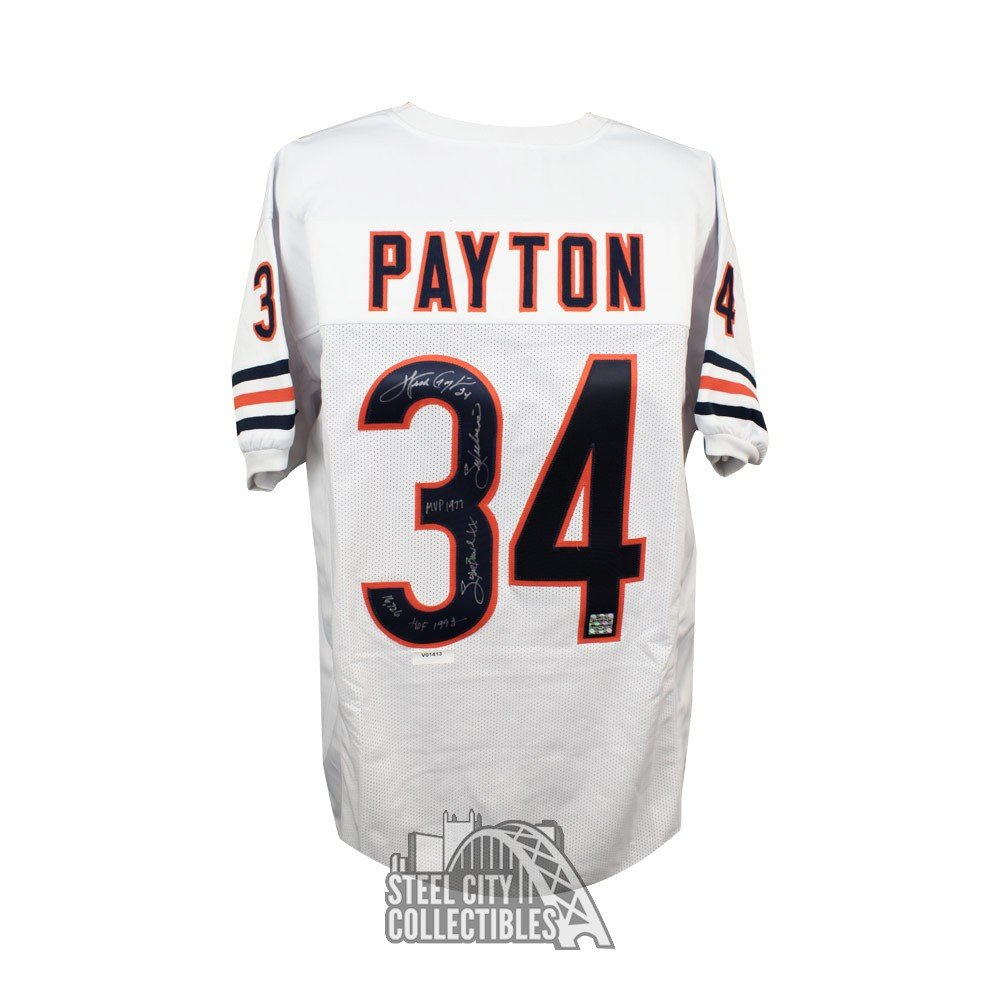 pretty nice 692b6 af36a Walter Payton Autographed Chicago Bears Custom White Football Jersey  PSA/DNA LOA