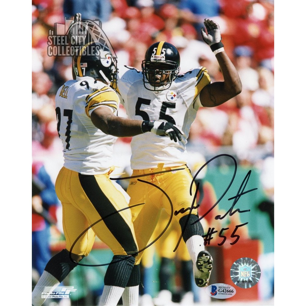e37dd029327 Joey Porter Autographed Pittsburgh Steelers 8x10 Photo (White Jersey) - BAS  COA | Steel City Collectibles