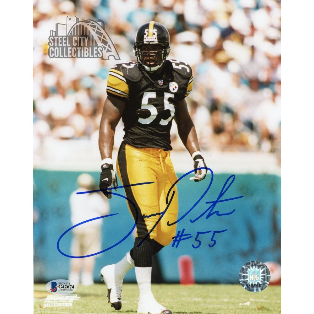 533a099ac5e Joey Porter Autographed Pittsburgh Steelers 8x10 Photo (Black Jersey) - BAS  COA | Steel City Collectibles