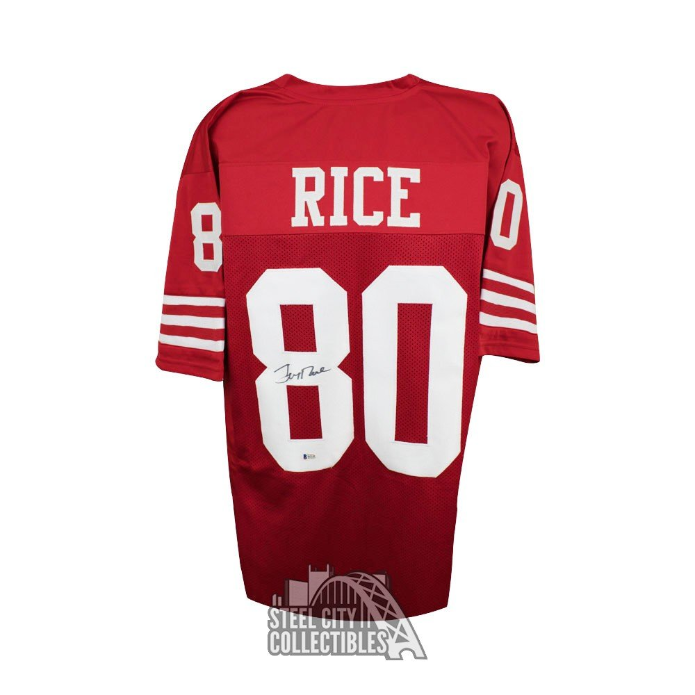 181bd8d7 Jerry Rice Autographed San Francisco 49ers Custom Red Football Jersey - BAS  COA