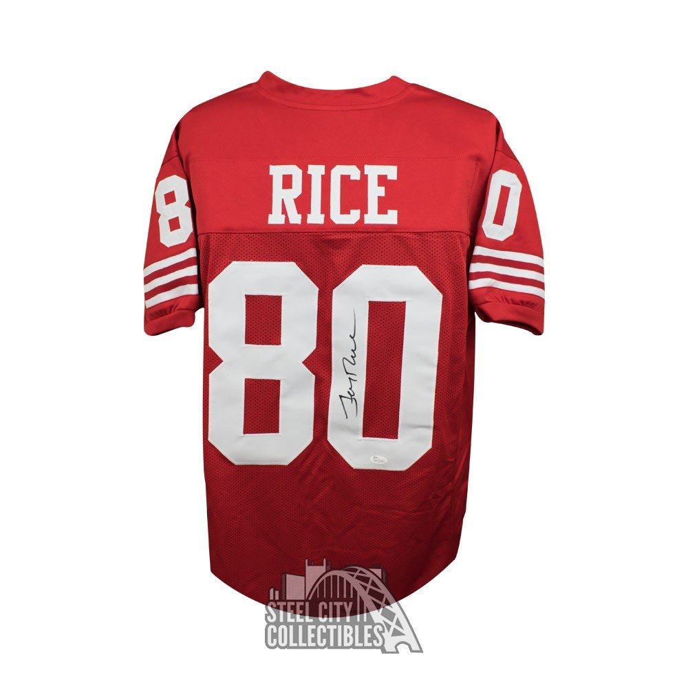 save off ddc9c a36b0 Jerry Rice Autographed San Francisco 49ers Custom Red Football Jersey - JSA  COA