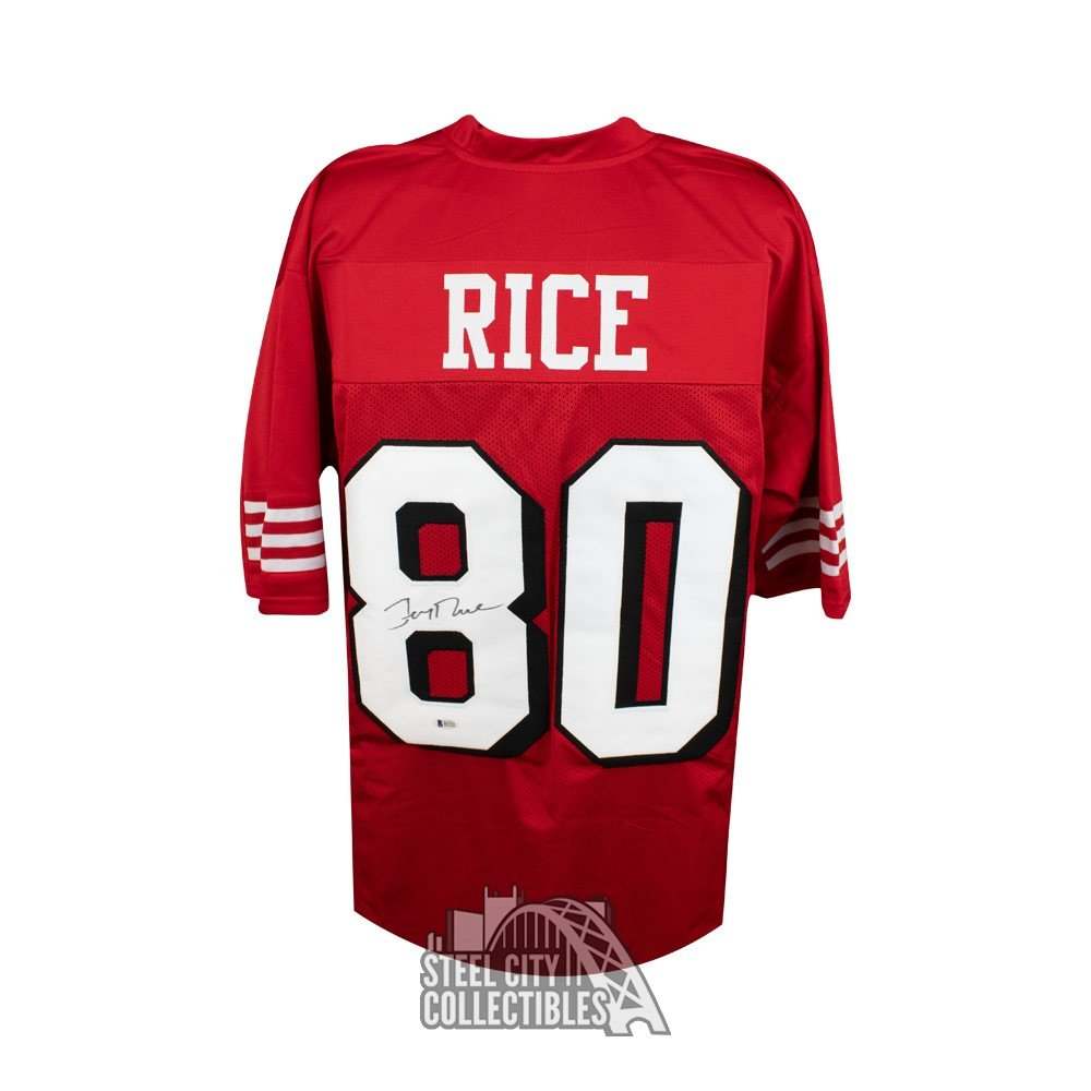 100% authentic 515a8 094cf Jerry Rice Autographed San Francisco 49ers Custom Red Football Jersey - BAS  COA (B)