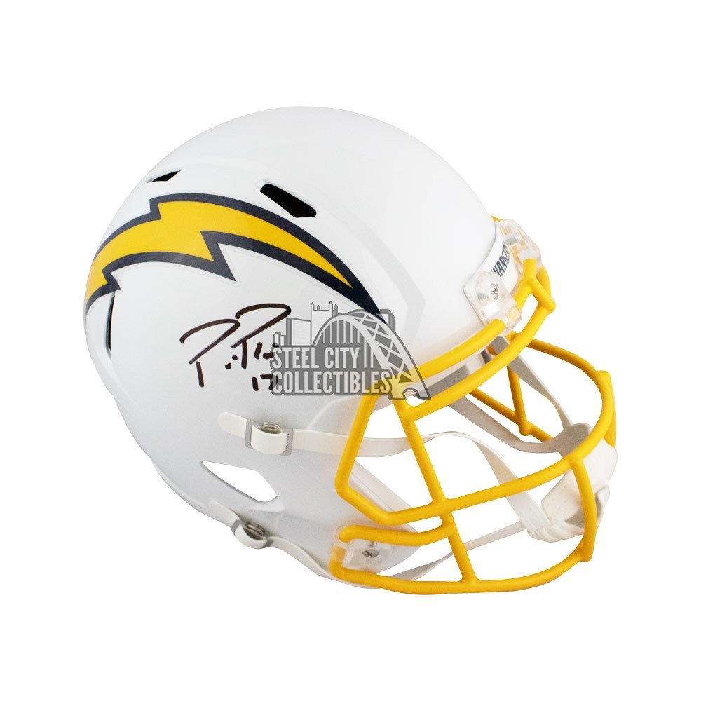 newest collection b7ea1 a74b1 Philip Rivers Autographed Chargers Color Rush Full-Size Football Helmet BAS  COA