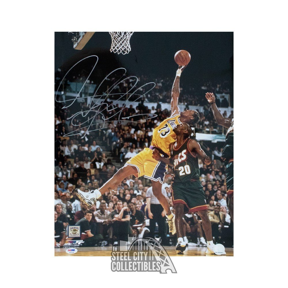newest 10144 85c1d Dennis Rodman Autographed Los Angeles Lakers 16x20 Photo - PSA/DNA COA