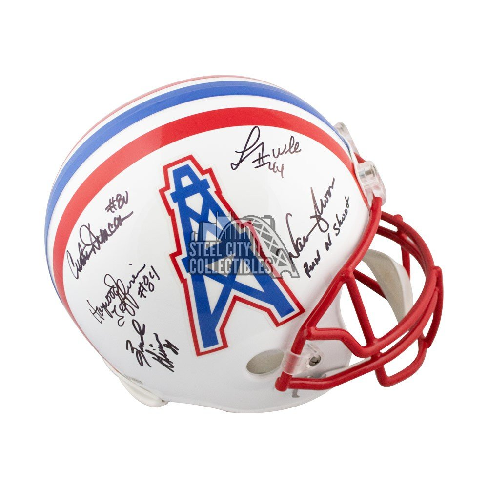 Run N Shoot Autographed Houston Oilers Full Size Football Helmet Bas Red Facemask Steel City Collectibles
