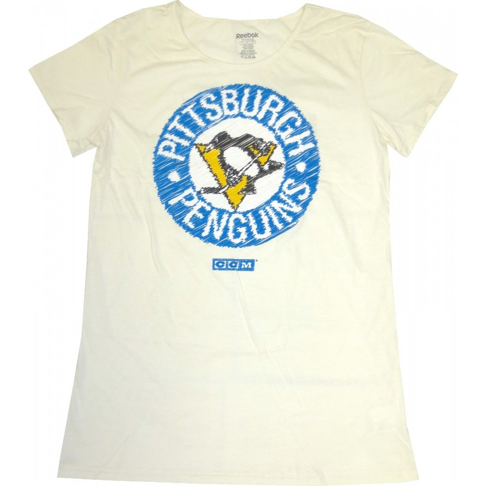 the latest 4cc9b d57a3 Pittsburgh Penguins Reebok NHL Women's Paperwhite Washed Vintage Logo  T-Shirt