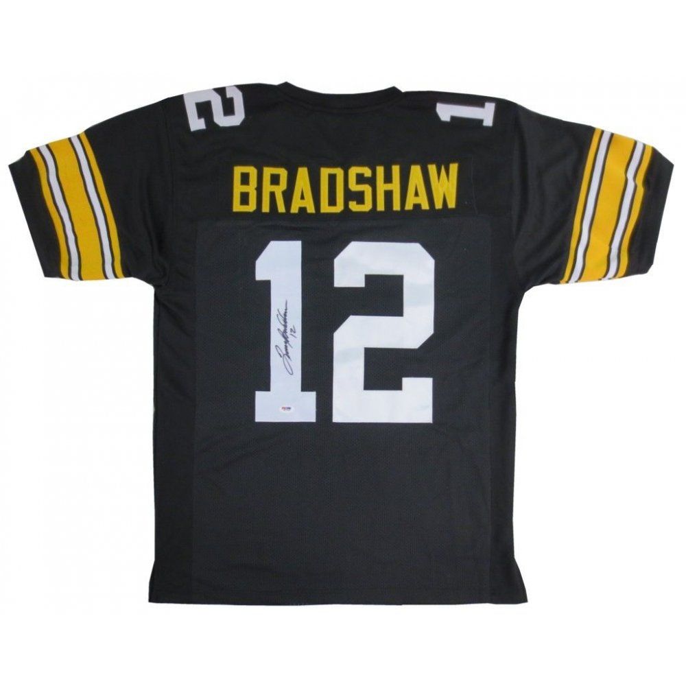 Terry Bradshaw Autographed Pittsburgh Steelers Home Black Jersey ...