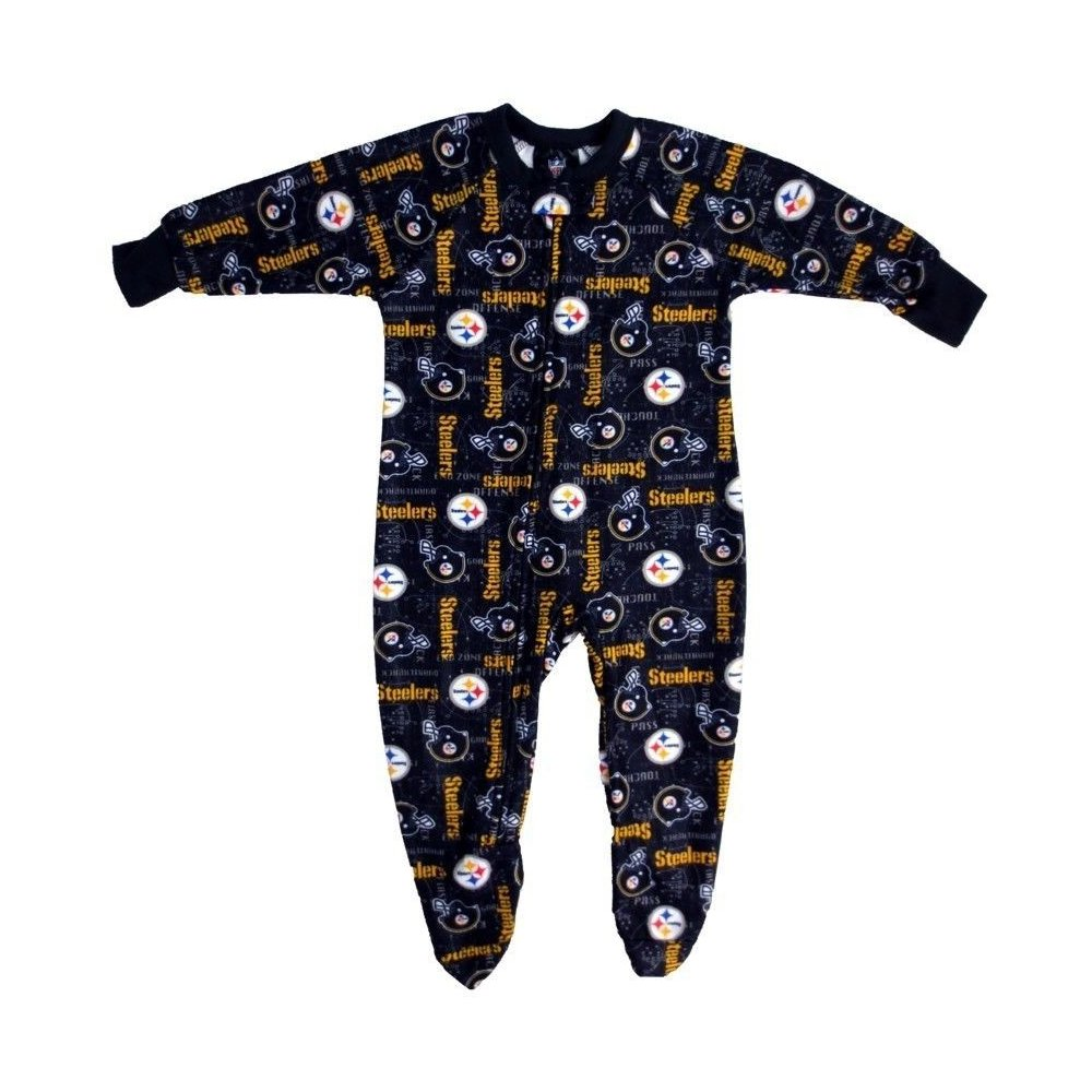 Pittsburgh Steelers NFL Baby Logo Helmet Black Footed Pajama One ... d4e15104e