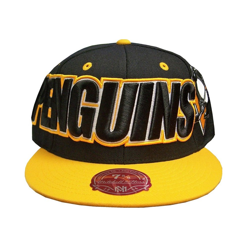 Pittsburgh Penguins NHL Mitchell   Ness Black Gold Fitted Hat 412199c245e