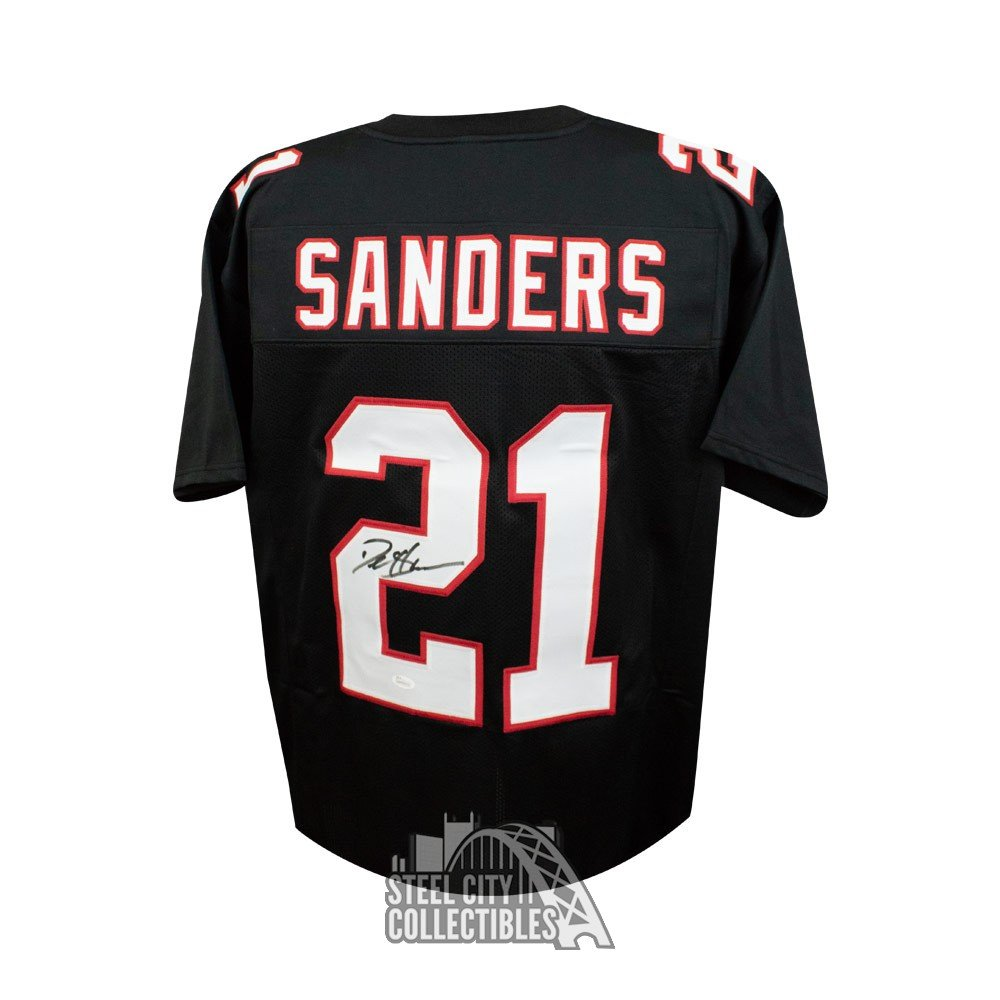 brand new eec02 231b7 Deion Sanders Autographed Atlanta Falcons Custom Black Football Jersey -  JSA (B)