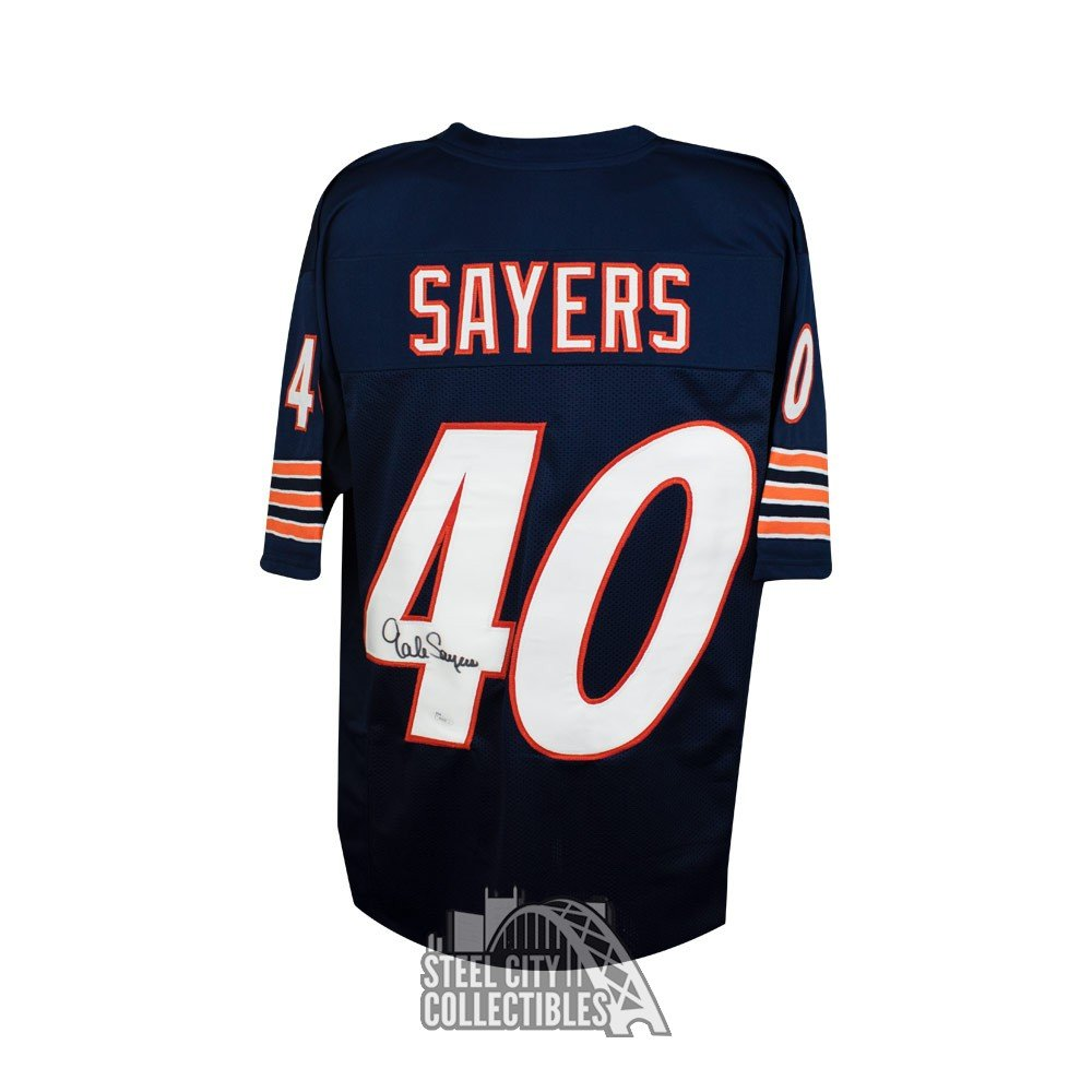 f6e35f51e57 Gale Sayers Autographed Chicago Bears Custom Navy Football Jersey - JSA  Basic | Steel City Collectibles