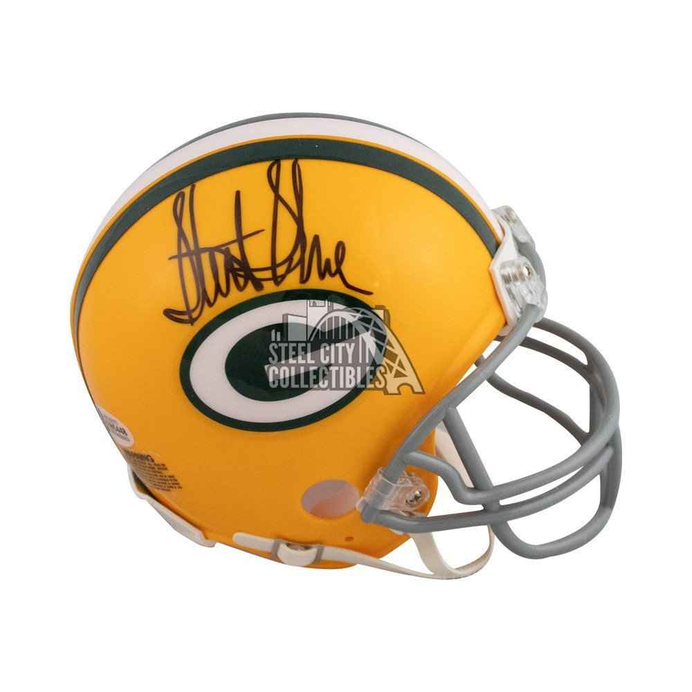premium selection cfe0d 316d1 Sterling Sharpe Autographed Green Bay Packers Throwback Mini Football  Helmet - BAS COA