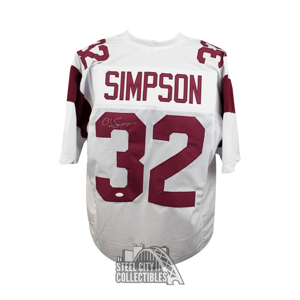 check out a6281 2afbe O.J. Simpson Autographed USC Trojans Custom White Football Jersey - JSA COA