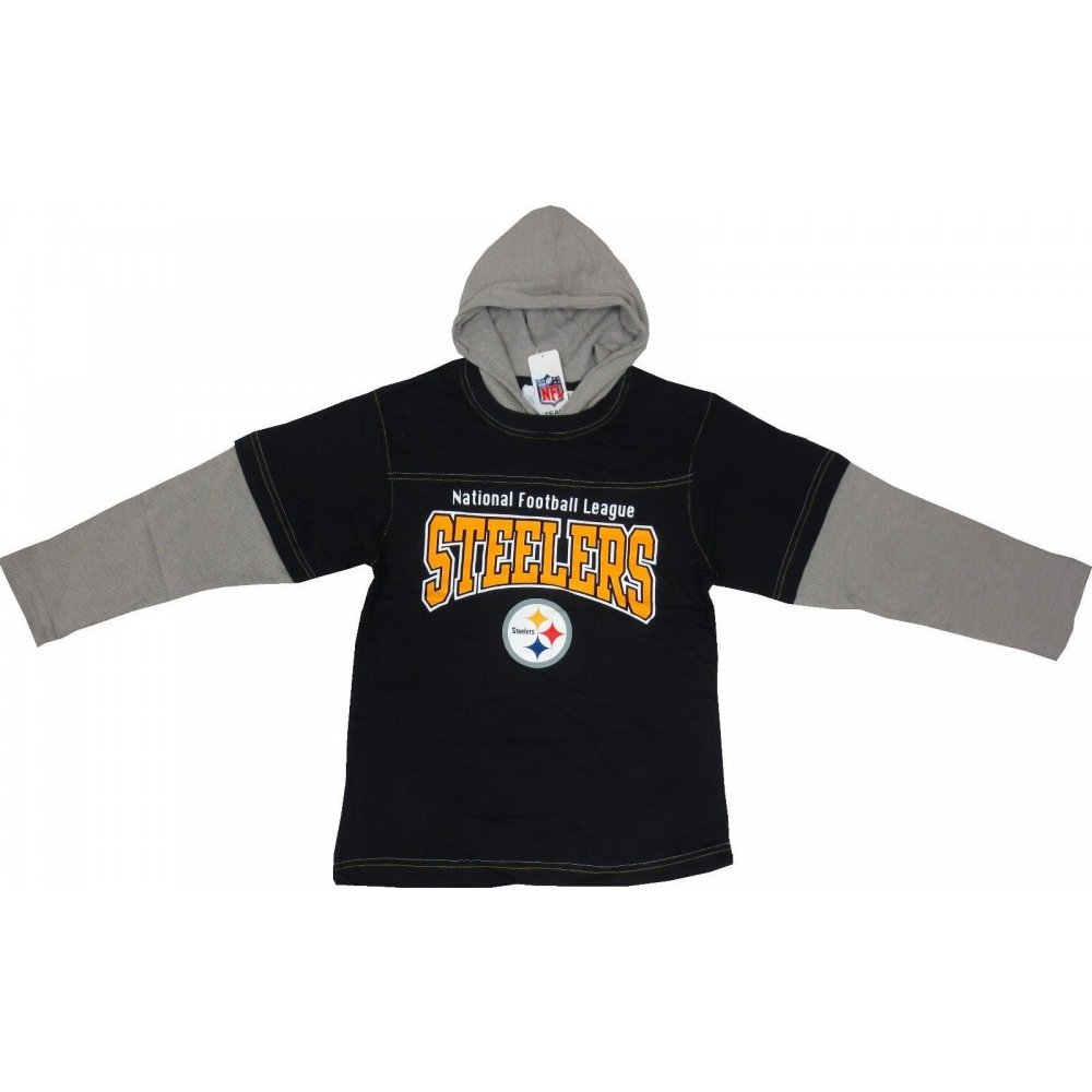 official photos 0e223 7c265 Pittsburgh Steelers NFL Youth Black/Gray Layered Thermal Hooded Sweatshirt
