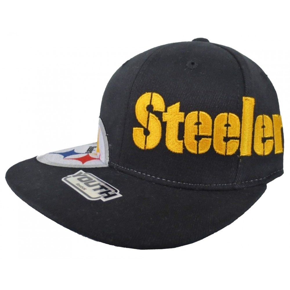 b70c1905fd1 Pittsburgh Steelers Reebok NFL Black Flex Fitted Hat - Youth