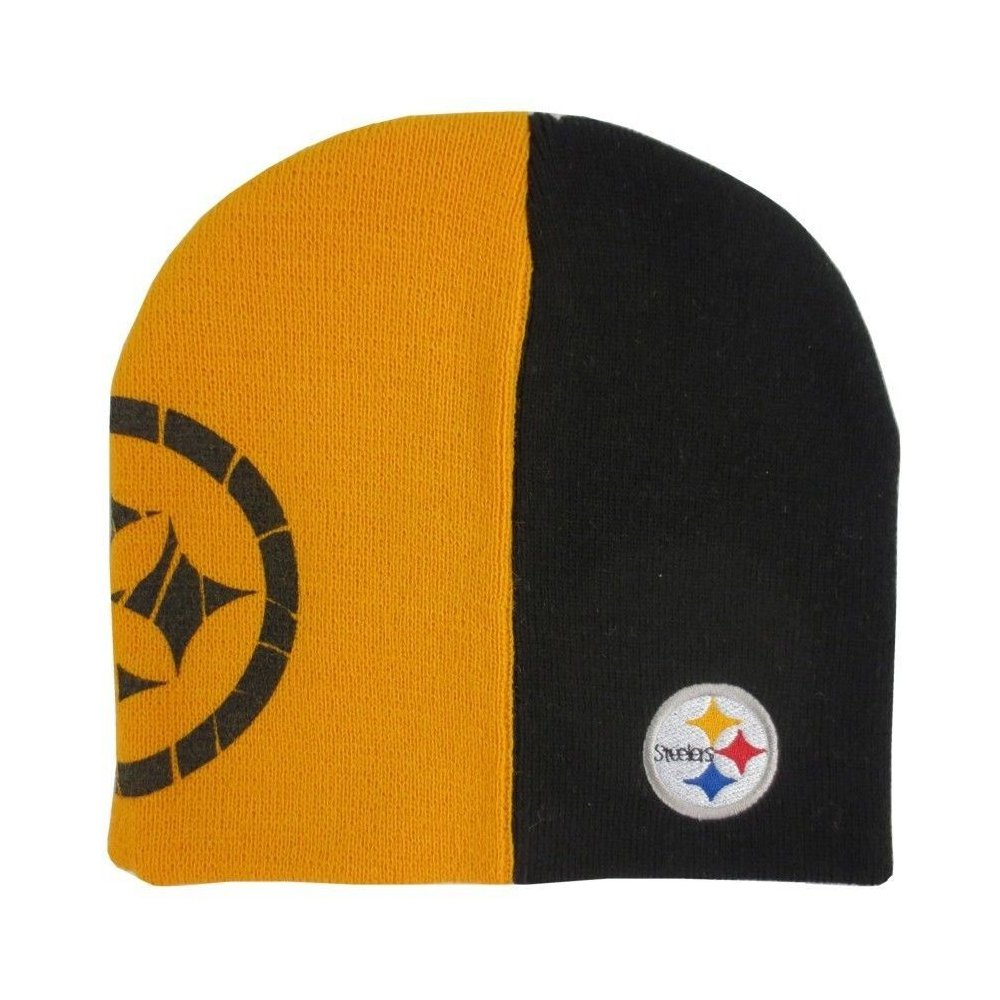 Pittsburgh Steelers Nfl Kids Youth Split Color Black Gold Cuffless Knit Hat
