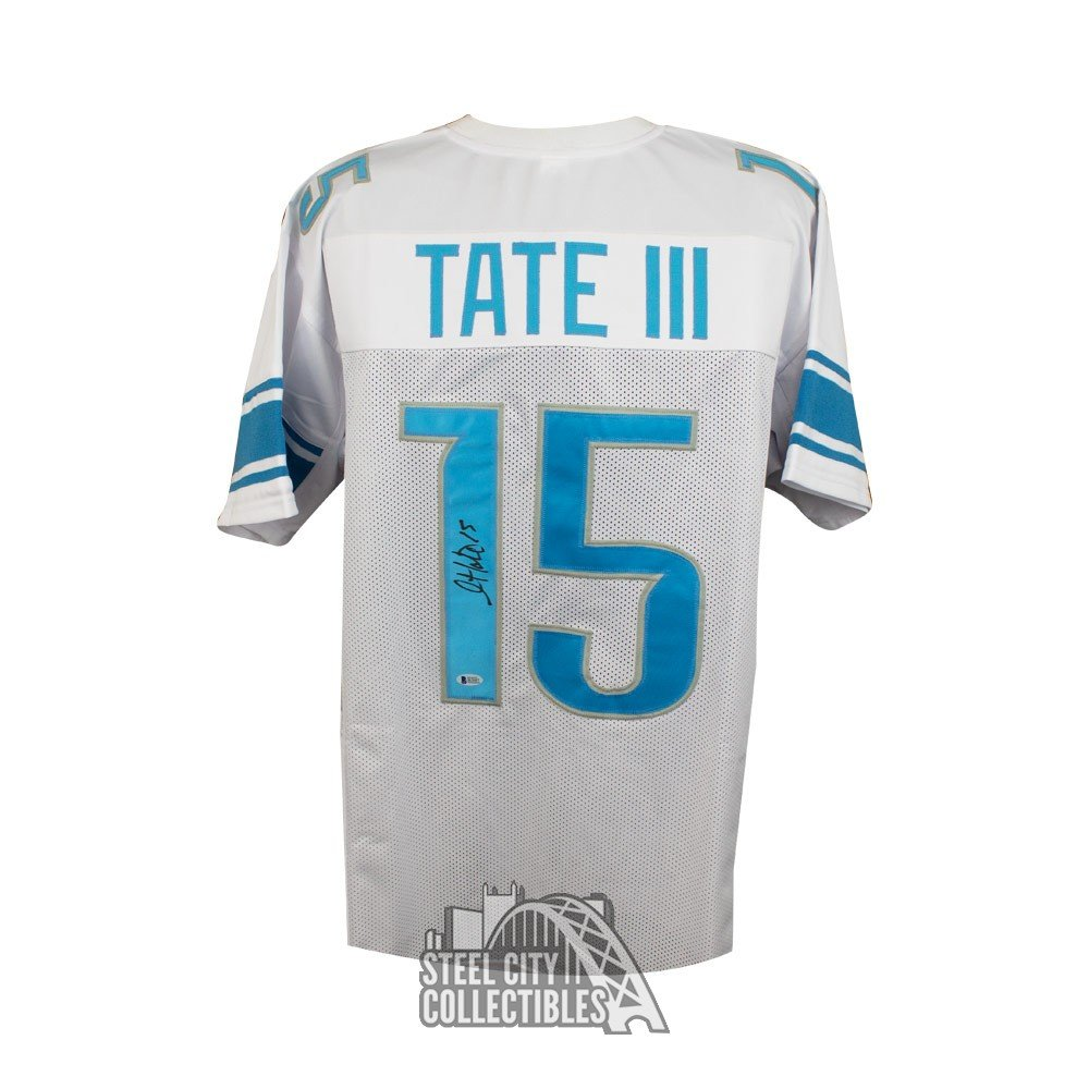 newest c61bc 6f8af Golden Tate Autographed Detroit Lions Custom White Football Jersey - BAS COA