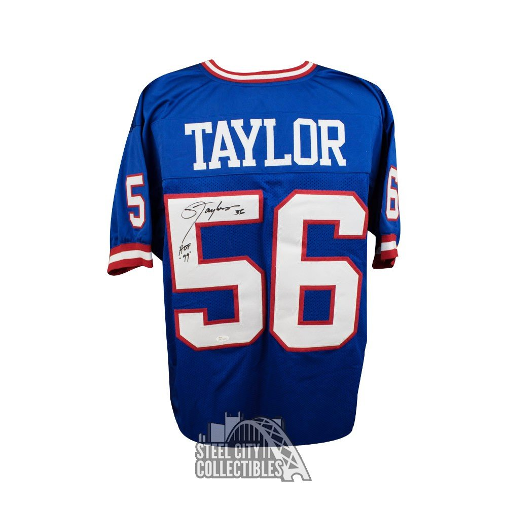 brand new 2bfc8 a11a6 Lawrence Taylor HOF Autographed New York Giants Custom Blue Football Jersey  JSA
