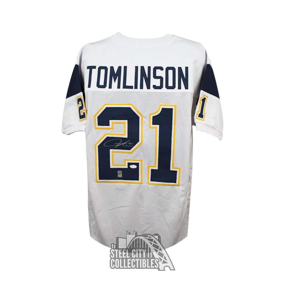 best authentic 1fa10 04ad2 LaDainian Tomlinson Autographed San Diego Chargers Custom White Football  Jersey - JSA COA