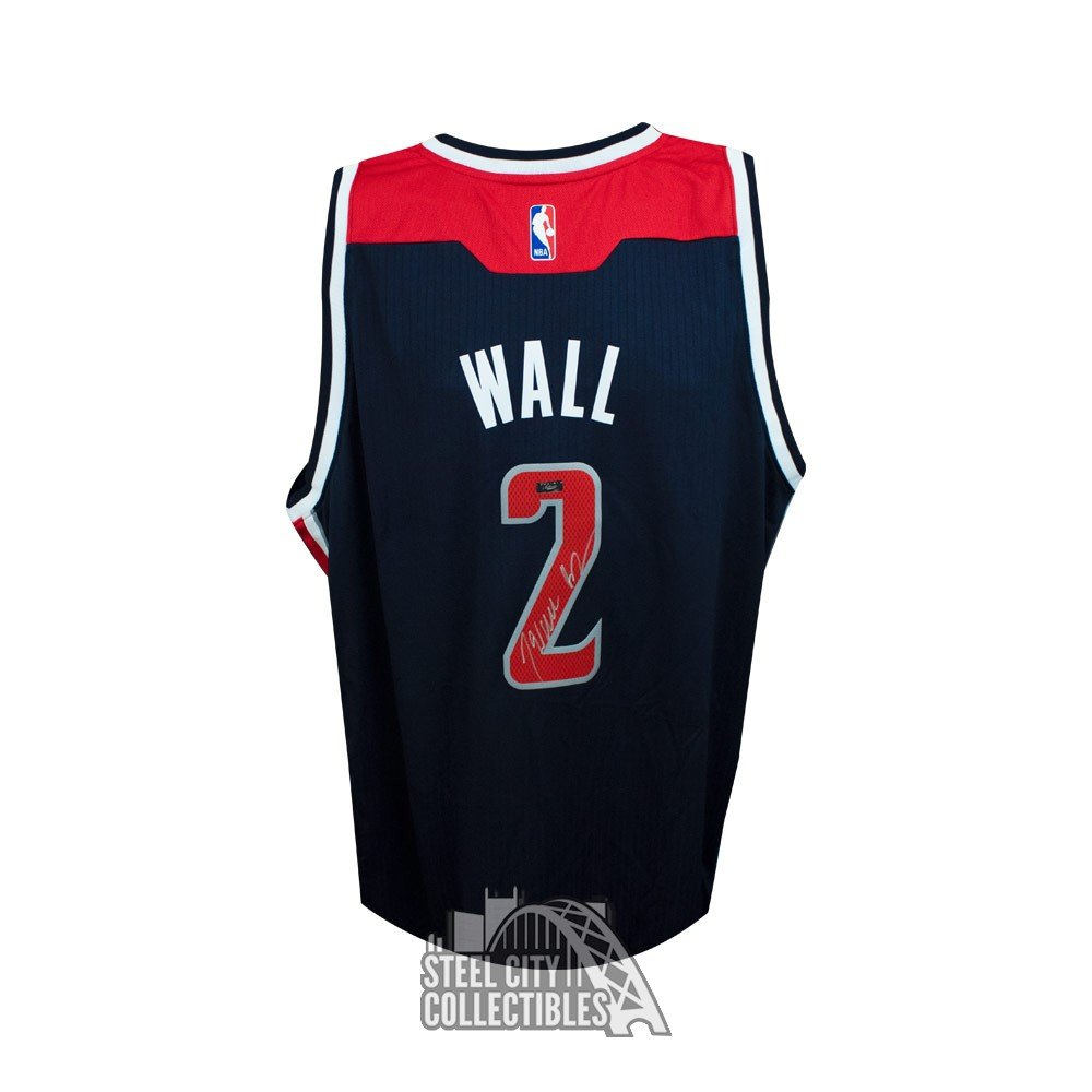finest selection 067a8 0ee5a John Wall Autographed Washington Wizards Navy Swingman Basketball Jersey  Panini