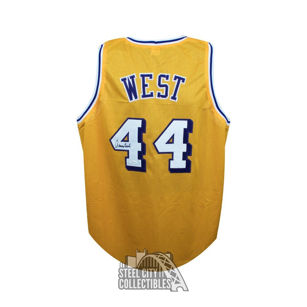 273560d4d Jerry West Autographed Los Angeles Lakers Custom Gold Basketball Jersey JSA  COA