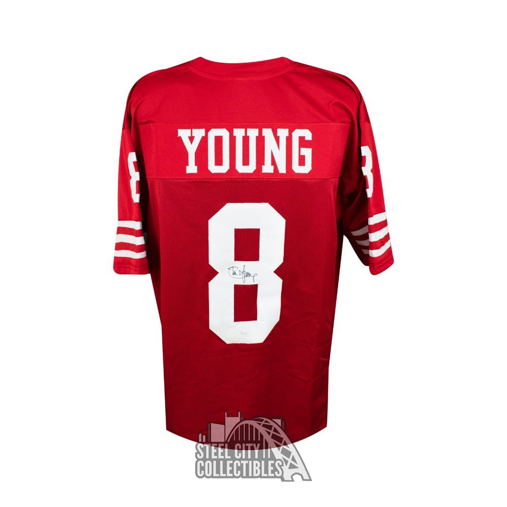 Red - Steve Jsa Football San Jersey Custom b Francisco Young Autographed 49ers