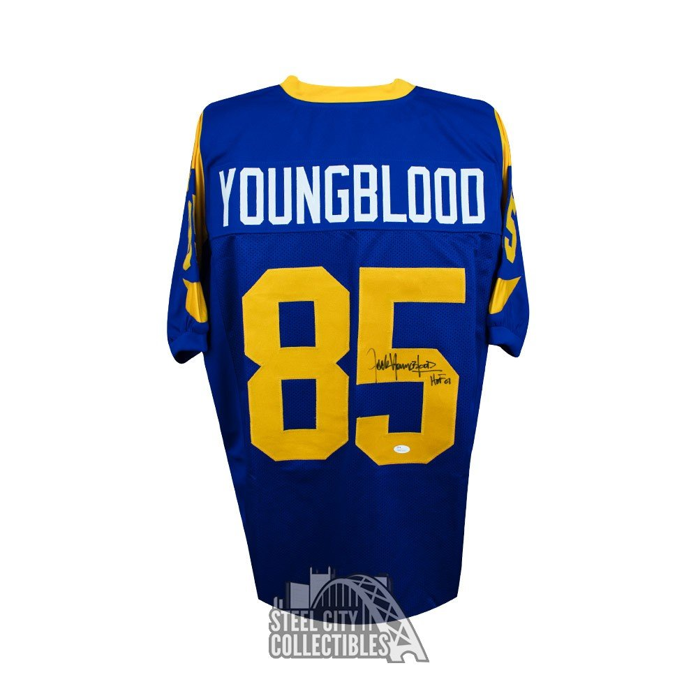 best cheap 24800 f5d8e Jack Youngblood HOF Autographed Los Angeles Rams Custom Blue Football  Jersey JSA