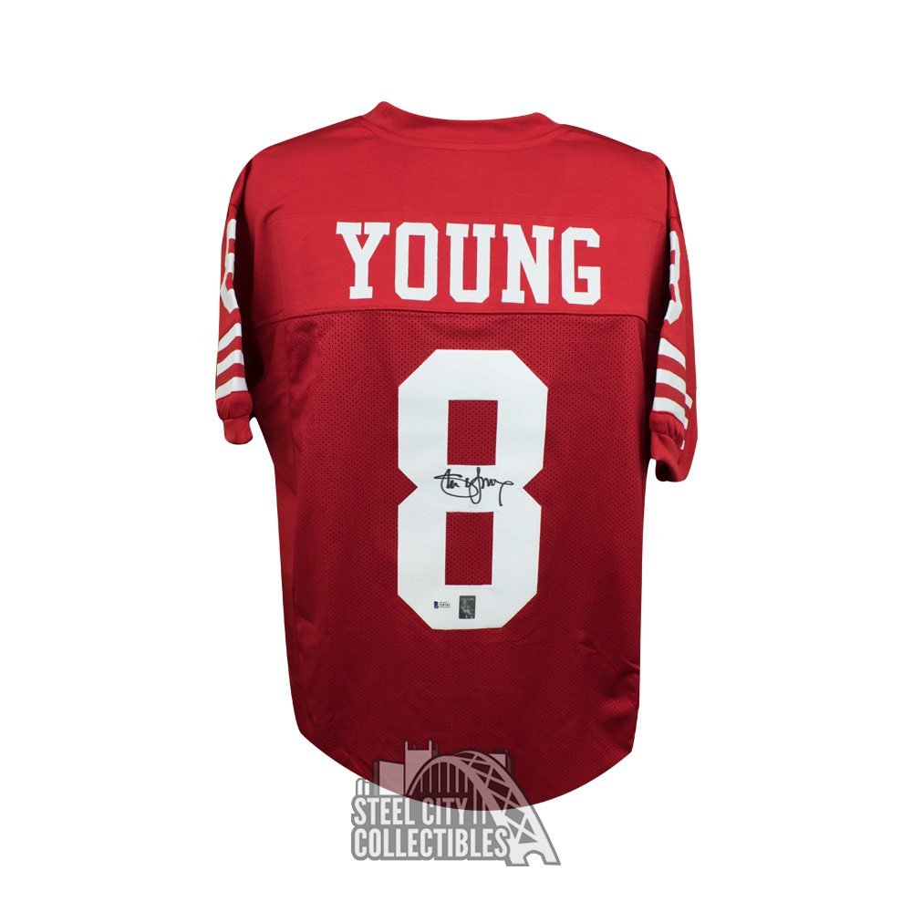 d3dcd847c74 Steve Young Autographed San Francisco 49ers Custom Red Football Jersey - BAS  COA | Steel City Collectibles