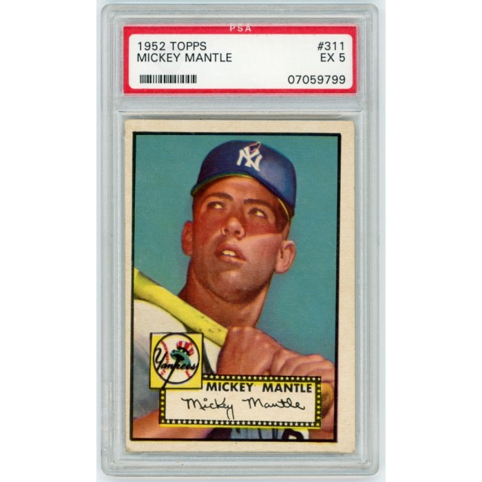 Mickey Mantle 1952 Topps Baseball Rookie Card 311 Psa Graded Ex 5