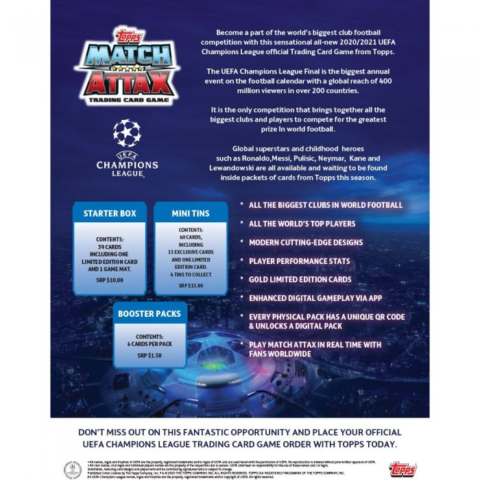 2020 21 topps uefa champions league match attax 30 pack retail box steel city collectibles 2020 21 topps uefa champions league match attax 30 pack retail box