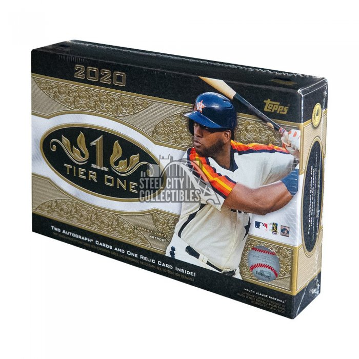 1 Pack//3 Cards: 2 Autographs, 1 Relic 2019 Topps Tier One Baseball Hobby Box