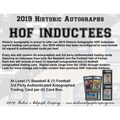 b5b60d9f275ce 2019 Historic Autographs Hall Of Fame Inductees Dual Hobby Box Random Hit  Group Break  5