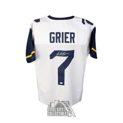 on sale 75b40 4c9aa Will Grier Autographed West Virginia Custom Gold Football ...